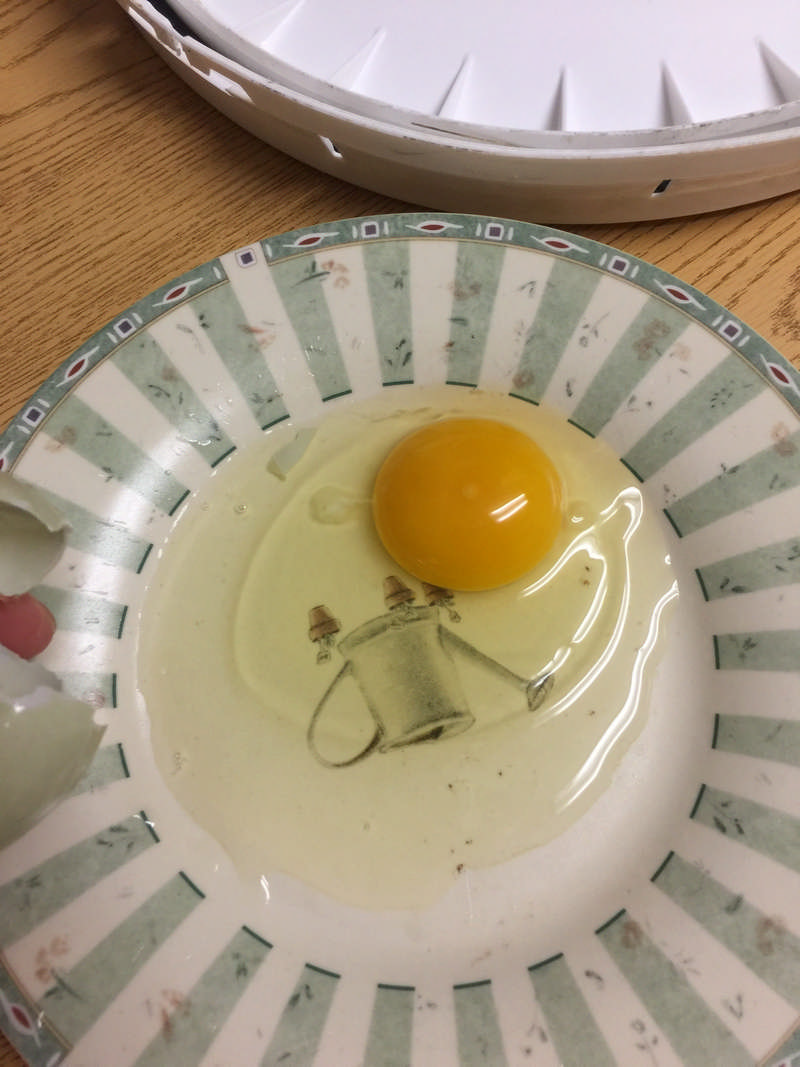 water glassed egg on a plate