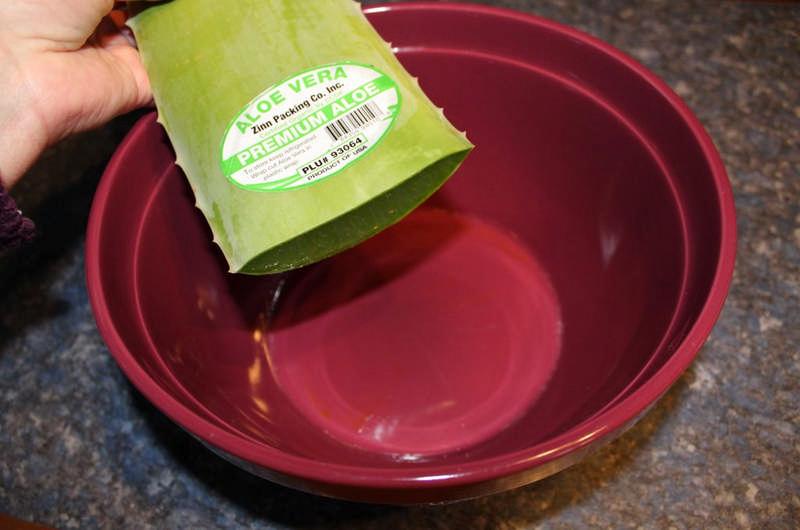 aloe vera leaf over bowl