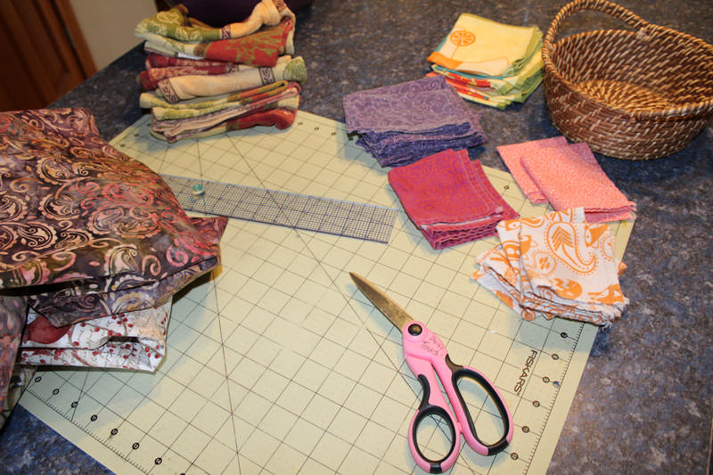 cutting nap with scissors and fabric