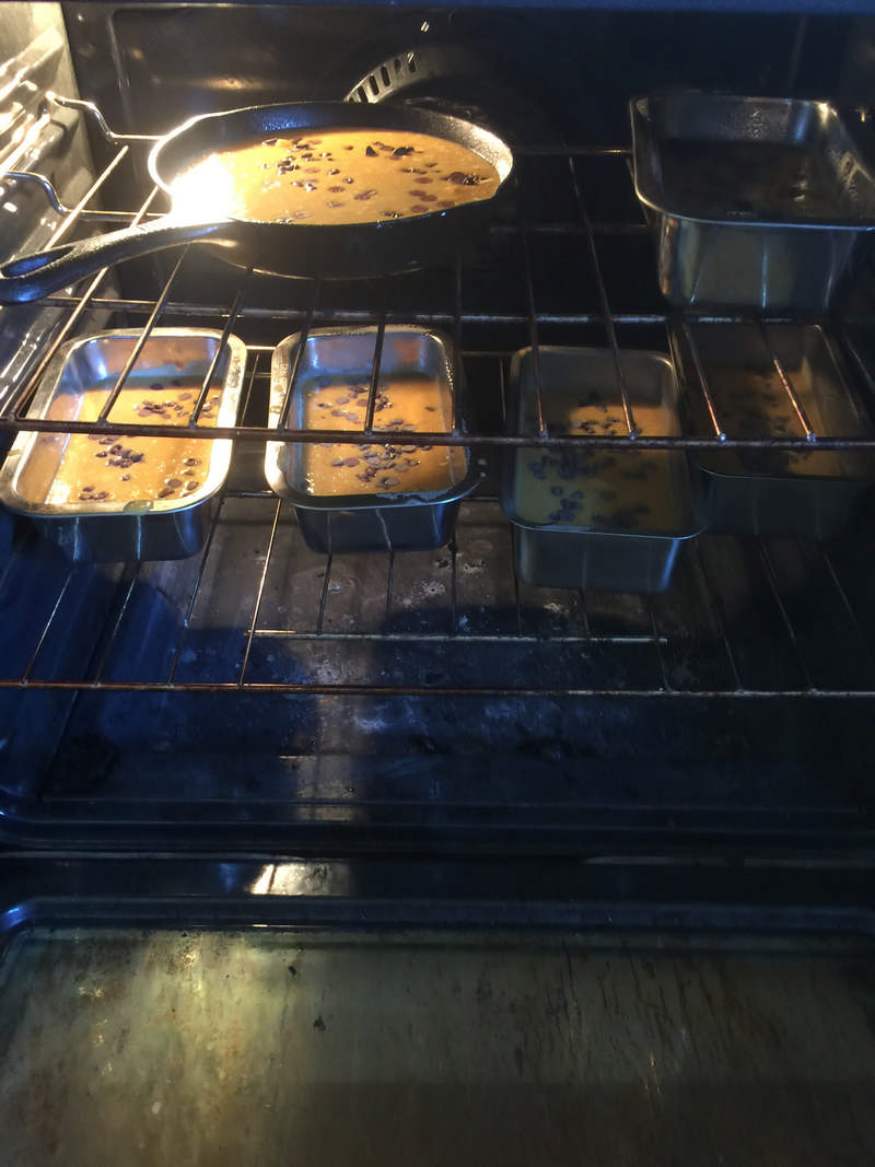 pumpkin bread baking in oven