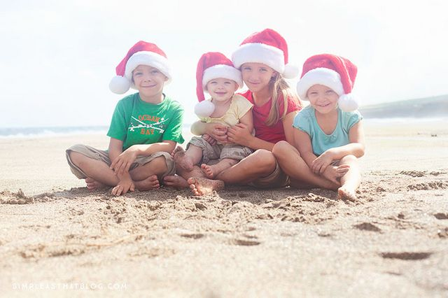children on beach at christmas
