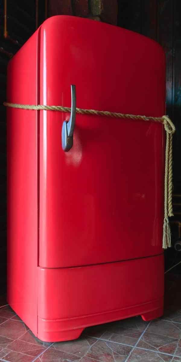 red vintage refrigerator