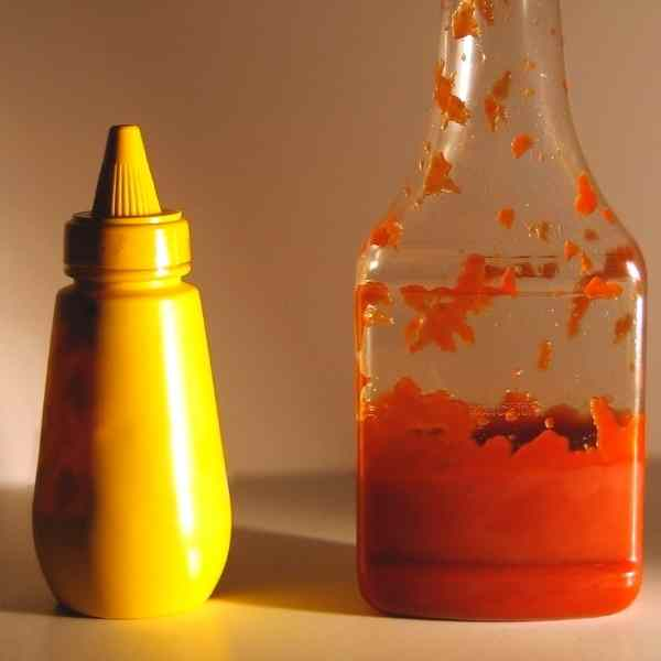 mustard and catsup bottles
