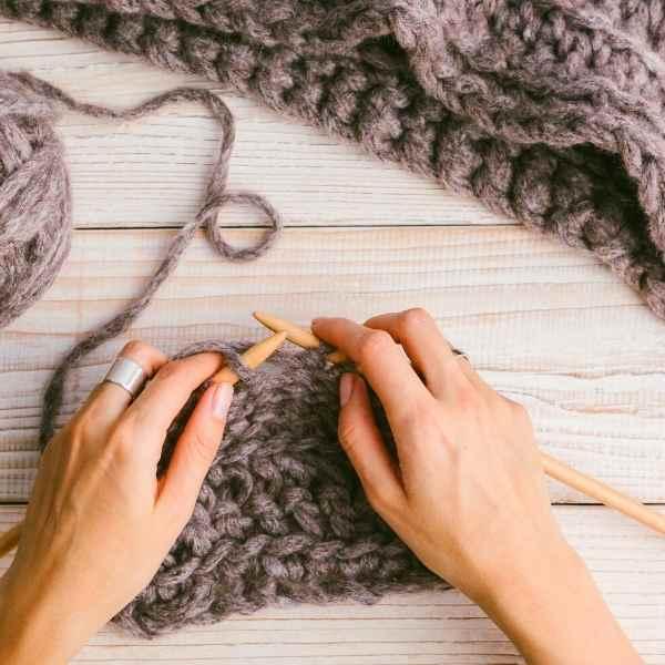 women's hands knitting