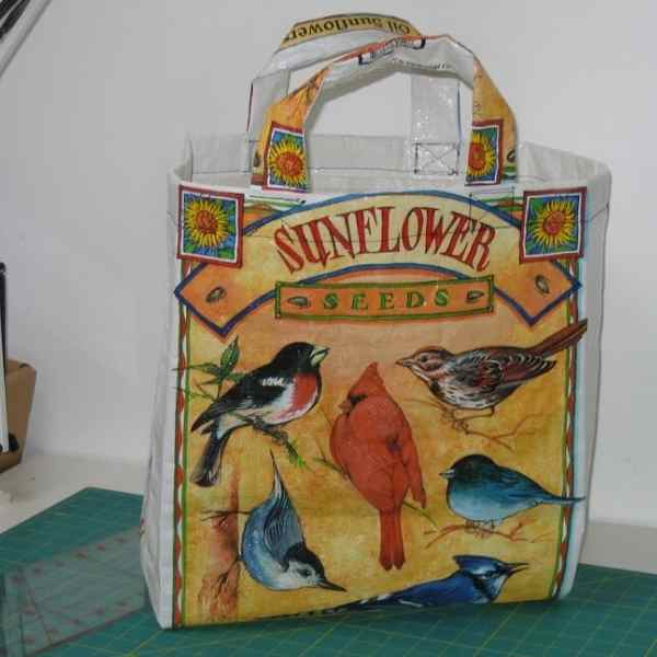 grocery bag made from bird seed bag