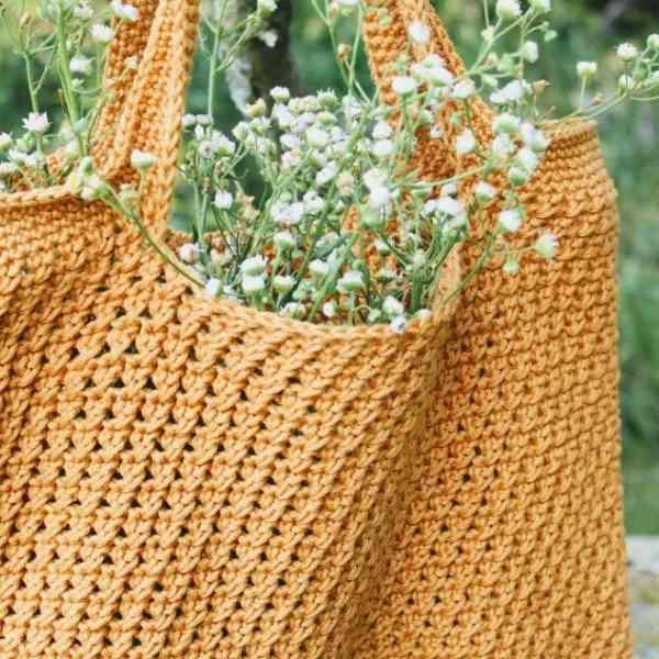 summer harvest bag free crochet pattern