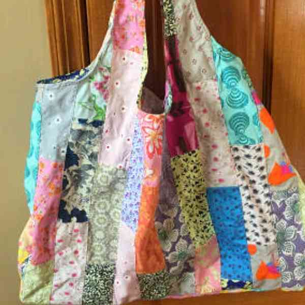 grocery bags from upcycled skirt