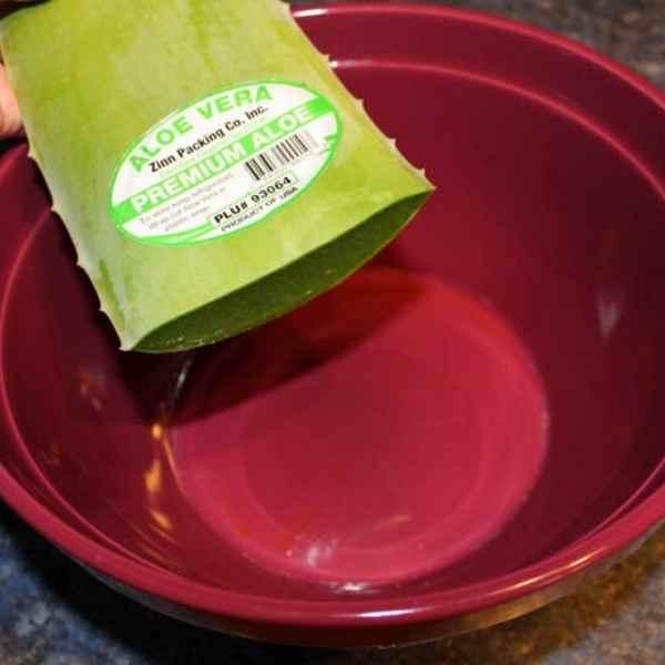 draining resin from aloe vera leaf