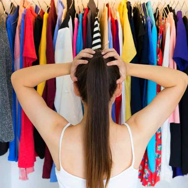 woman frustrated with wardrobe