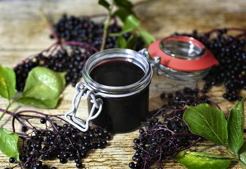 elderberry with elderberry syrup