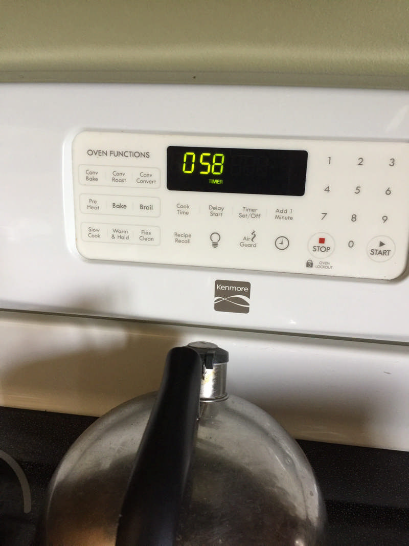 Timer on stove for strawberry jam