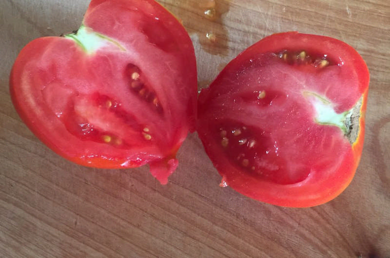 tomato sliced in half
