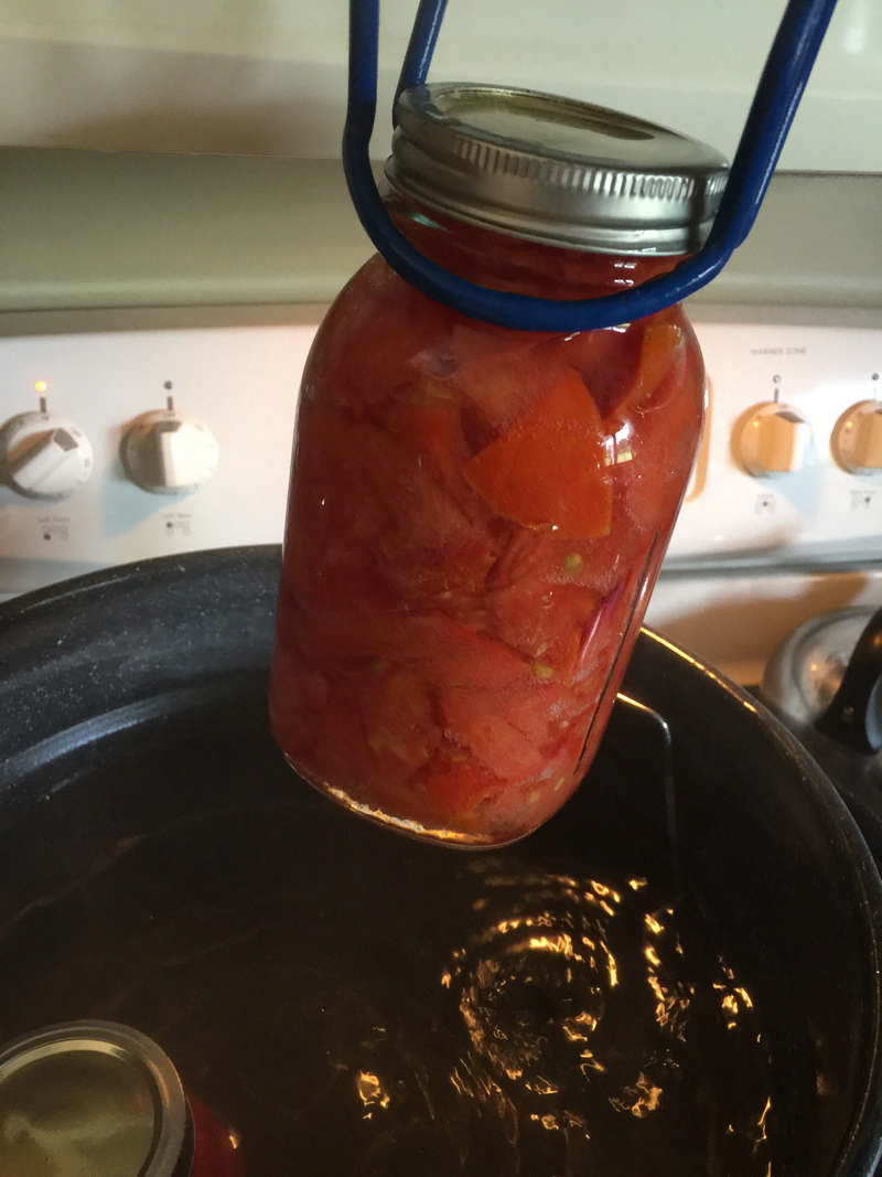 removing hot jars from water bath canner