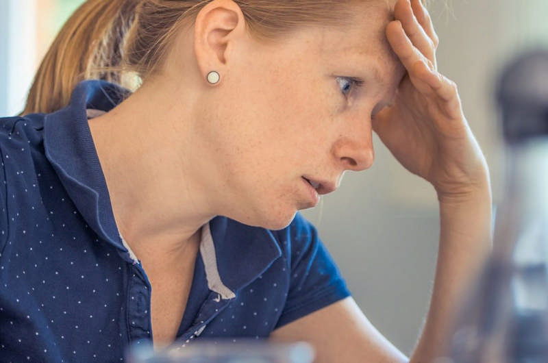 woman upset and worried