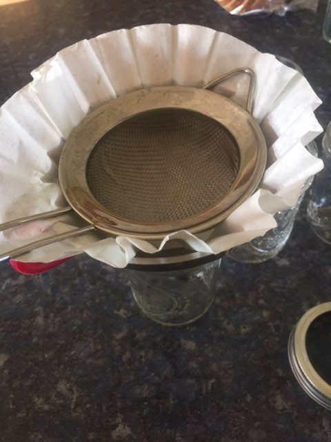 strainer and coffee filter for straining clarified butter