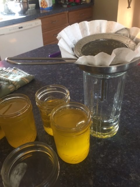 strained ghee in jars