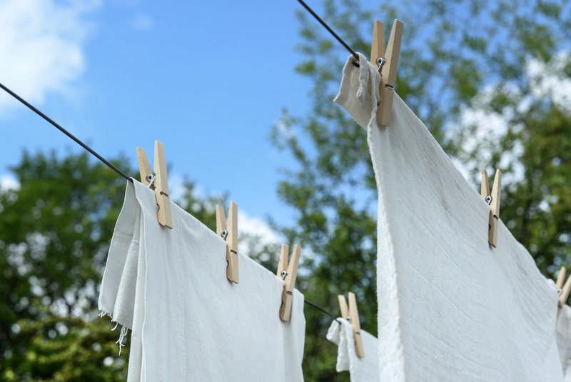 sheets on a clothesline