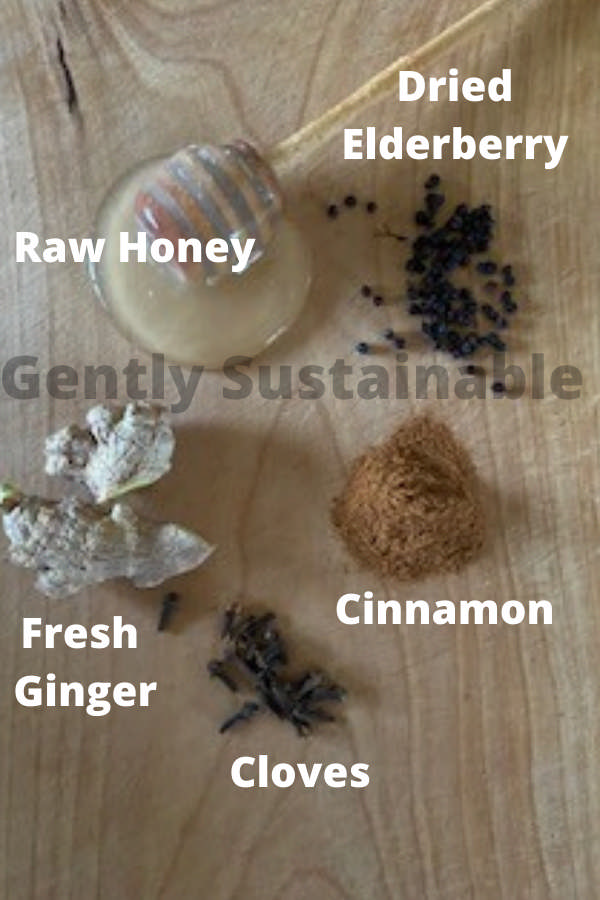 ingredients for elderberry syrup
