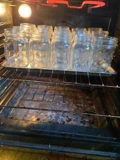 canning jars on cookie sheet in oven