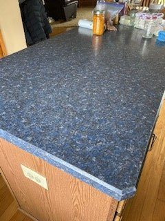 clean blue countertop
