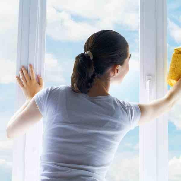 woman washing windows
