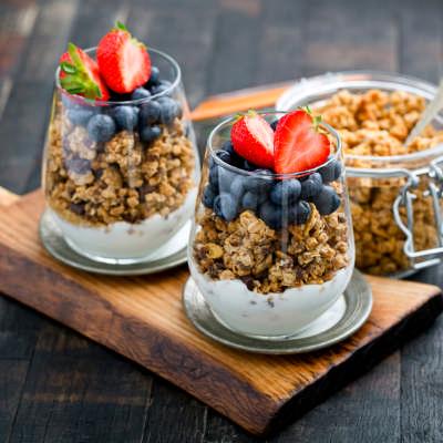 homemade granola and yogert