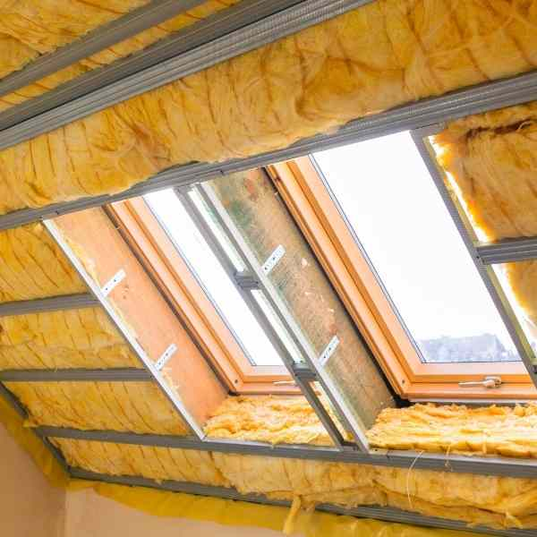 attic with windows and insulation