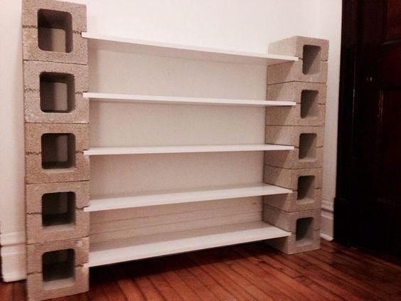 cinder blocks and shelves for pantry
