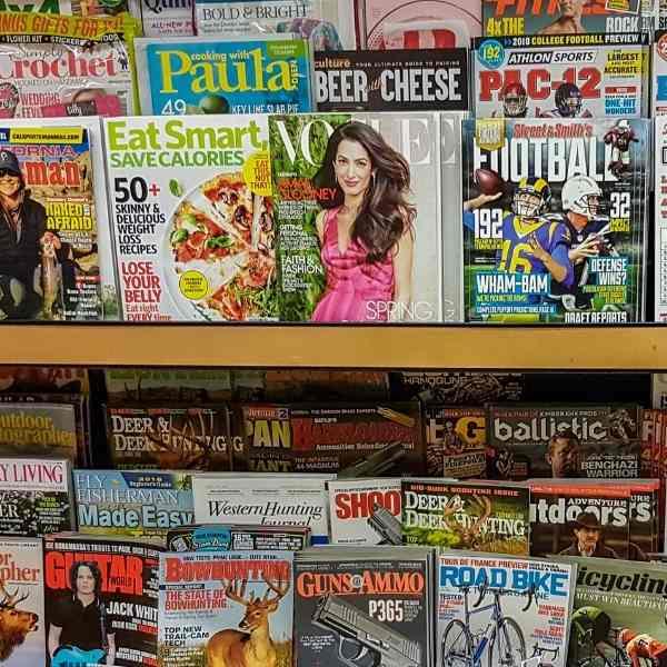 magazines on a shelf