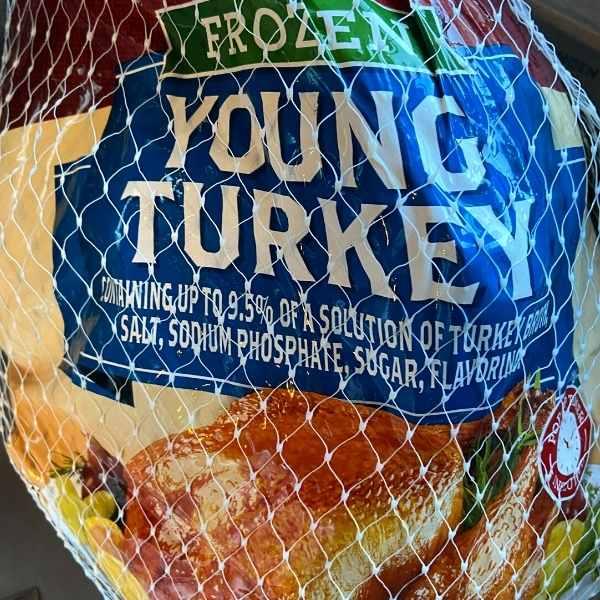 frozen whole turkey in packaging