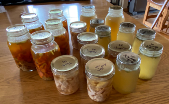jars of turkey meat, soup and broth